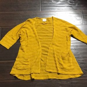 UO Pins and Needles Mustard Open Front Cardigan